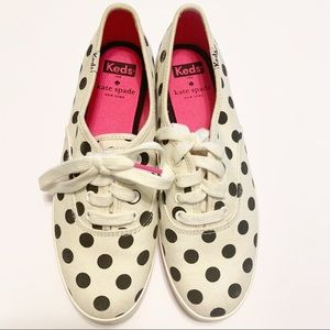 Kate Spade ♠️ Keds Off White PINK Black Polka Dot